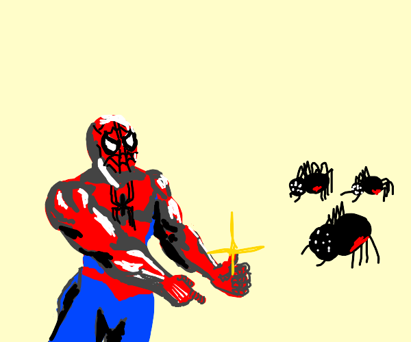 Spiderman gestures at spiders