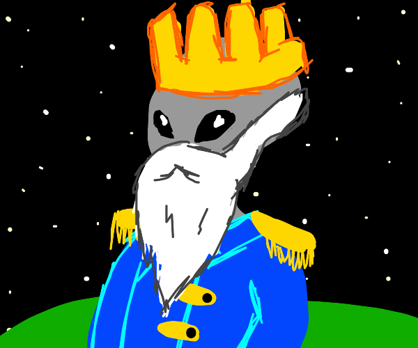 gray king alien w/ white beard + blue jacket