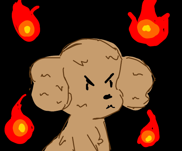 Angry puppy rages with flames
