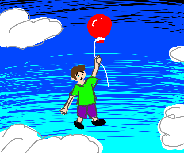boy flies away by holding onto a balloon