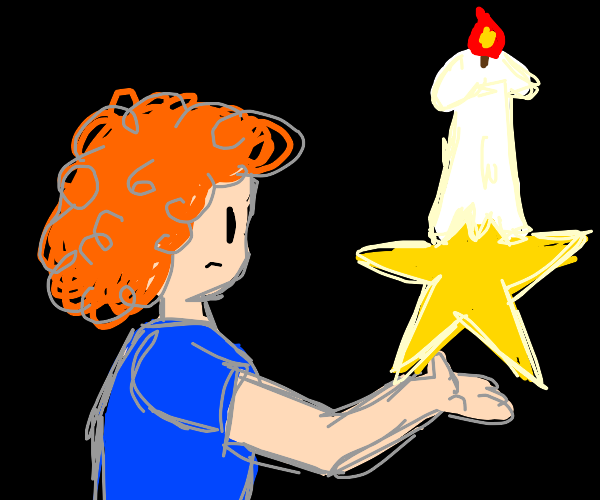 guy with a giant candle in the top of a star