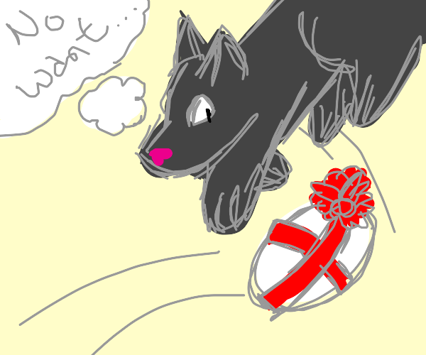 Wolf jumps to avoid a falling egg present