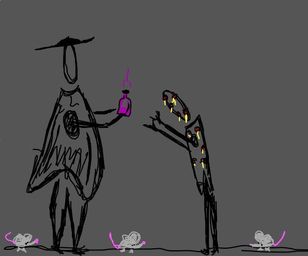 Plague doctor hands you purple potion