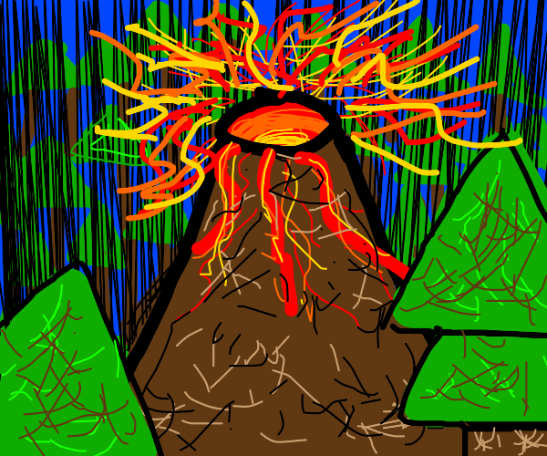 Volcano in forest