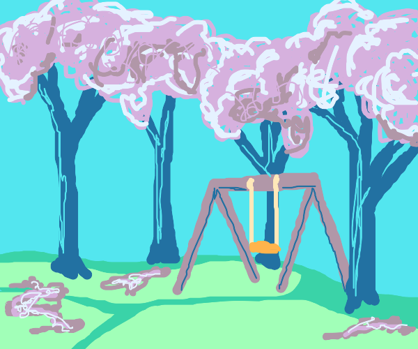 Playground with cherry blossoms