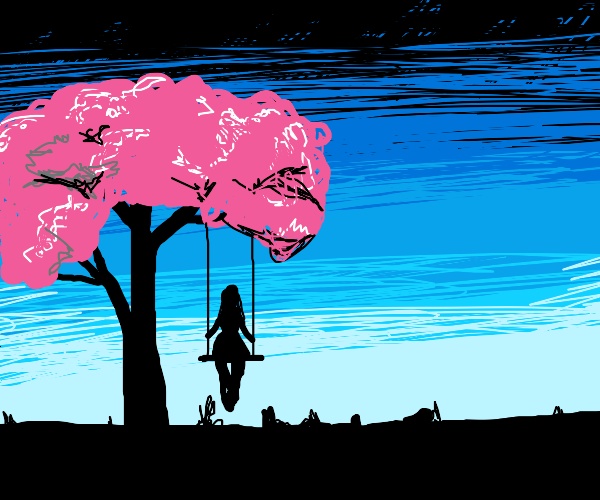 On a swing that hangs from a cherry tree