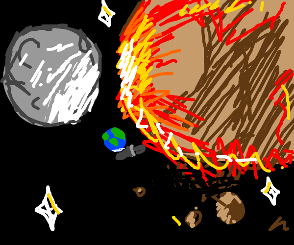 asteroid crashing into the moon