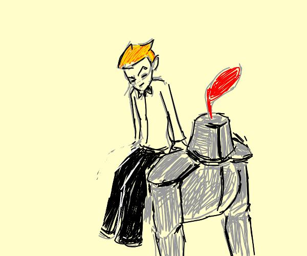 British Conan O'brien uses knight as seat