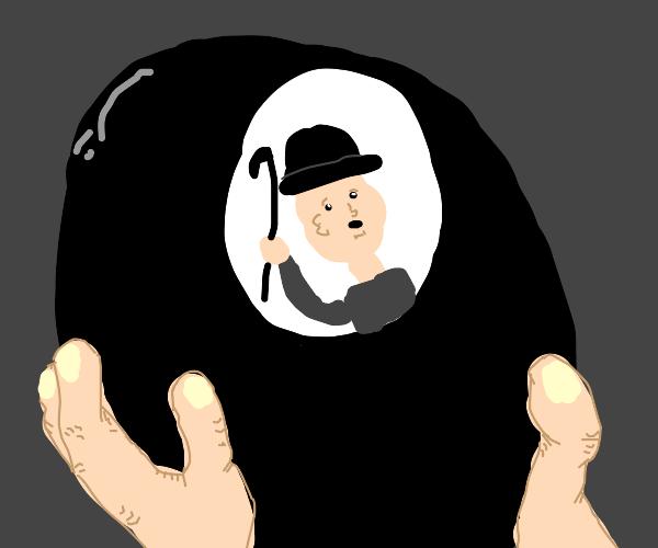 Charlie Chaplin stuck in a magic 8 ball