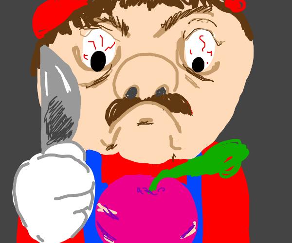 Mario threatens a radish