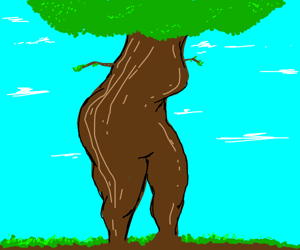Tree with a human butt