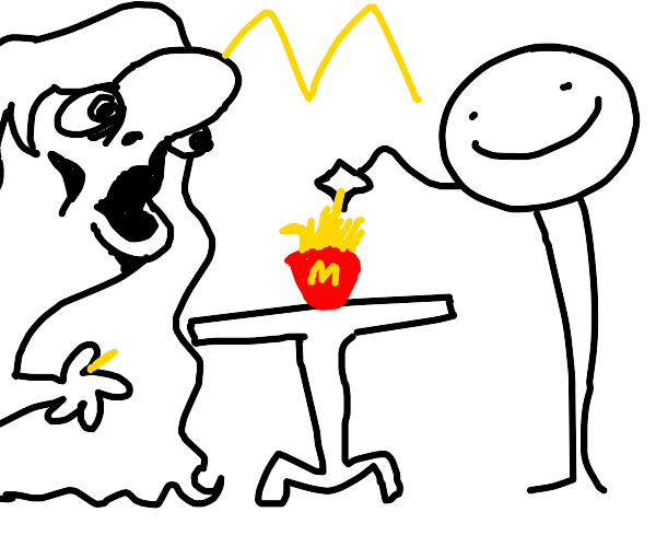 me and u eating fries at table mc donalds
