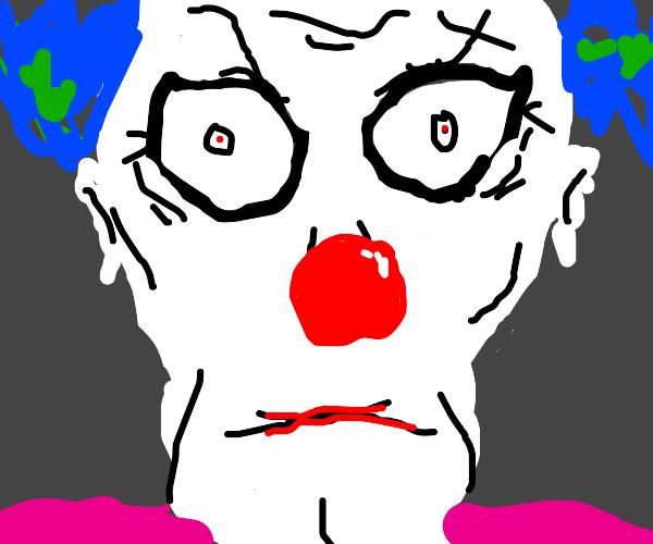 Creepy clown stares at you