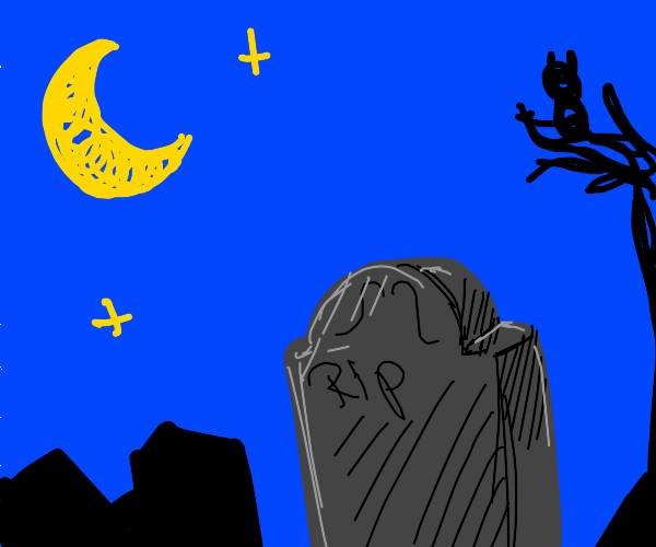 Grave stone at night