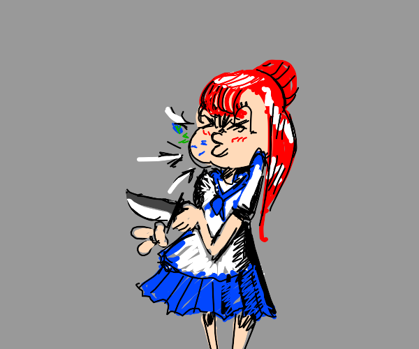 knife wielding anime girl sneezes