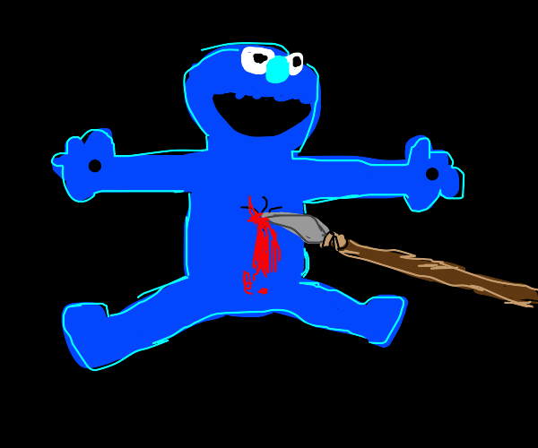 Blue Elmo has been pierced with a spear!