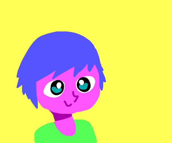 an anime person with pink skin and blue hair
