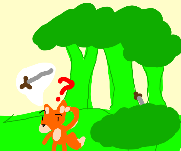 Fox can't find his sword in broccoli forest
