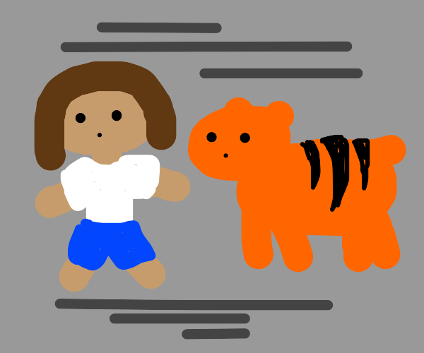 person with a tiger