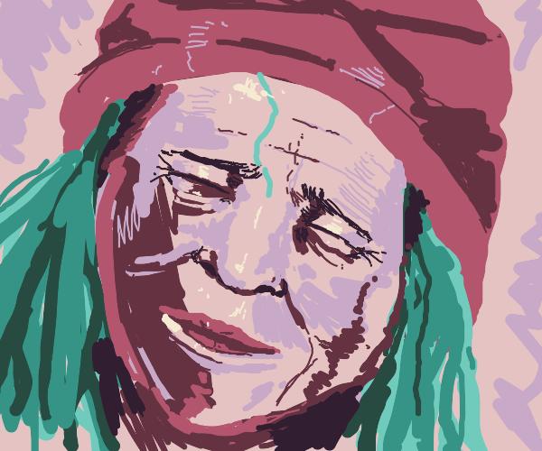 Black Grandma With Blue Hair Laughing