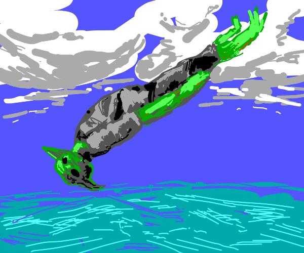 Baby Yoda is sky diving