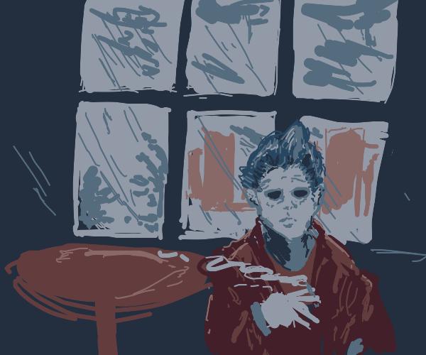 Depreessed man smoking with A rainy backdrop
