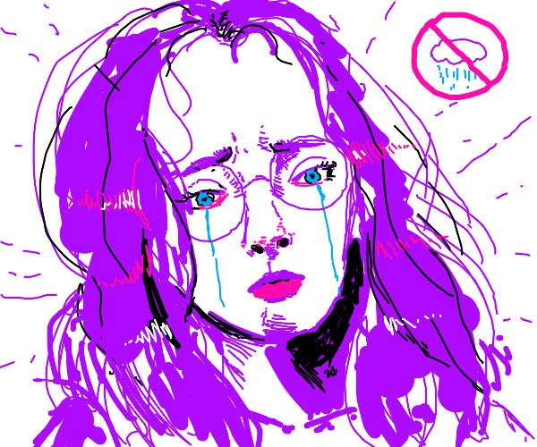 Girl sad because it didn't rain