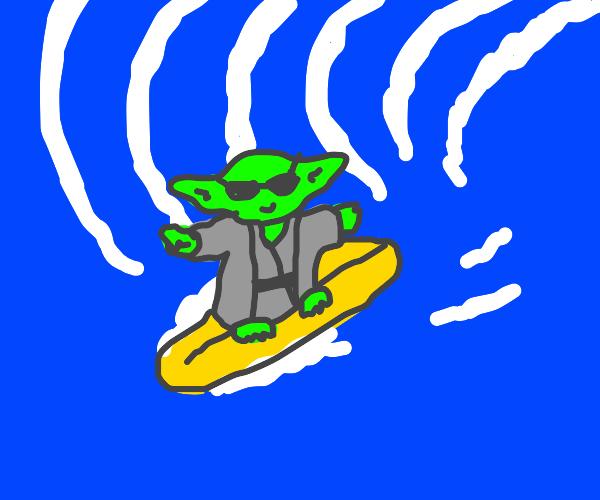 Yoda surfing while wearing shades