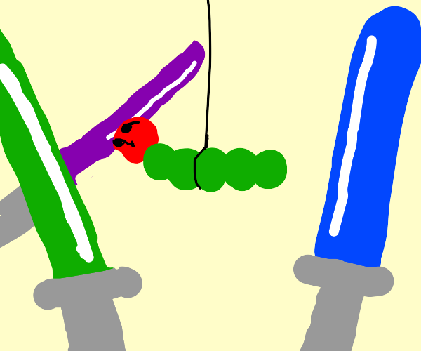 Worm on a string challenged by 3 light sabers