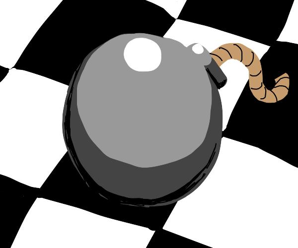 Bomb on black and white tile