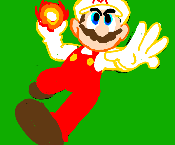Mario throws a fiery punch at you
