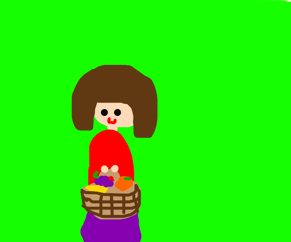 Girl With Basket of Fruit