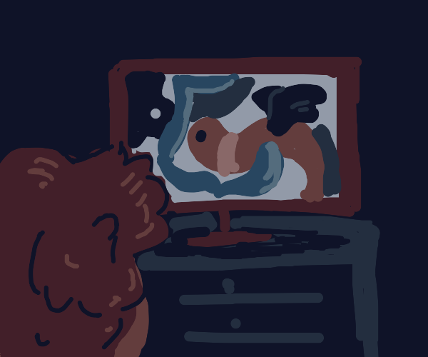 Man watching abstract movies