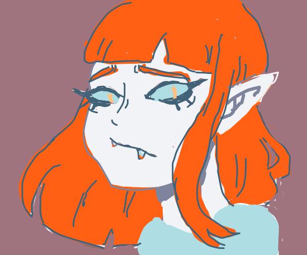 Elf girl with fangs
