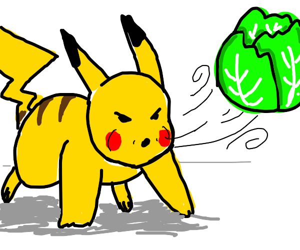 pikachu blowing a cabbage????