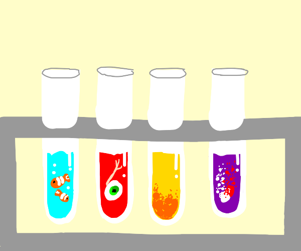 test tubes, one has a pill dissolvig in water