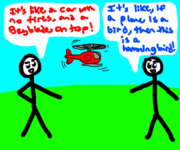 Two people describe a helicopter