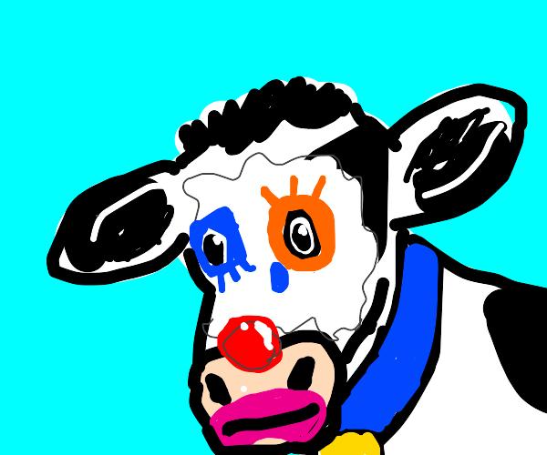 A sad cow clown