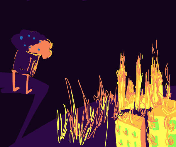 Muffin watches the city burn