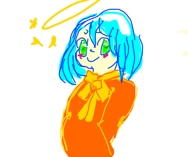 Anime girl with blue hair and a halo