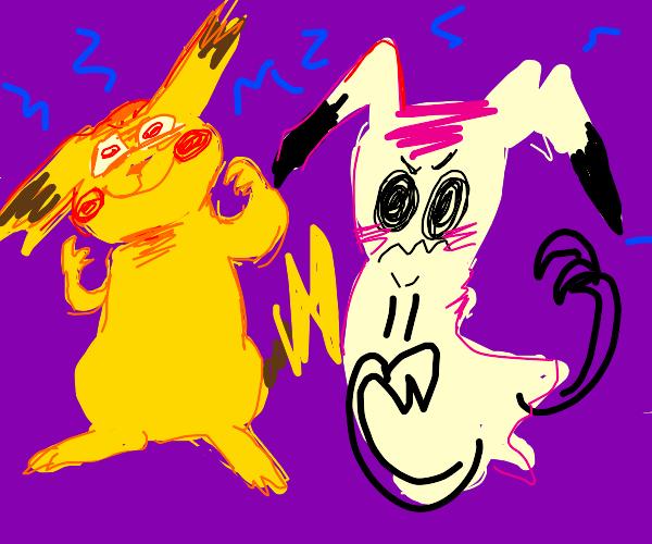 Evil pikachu and mimikyu