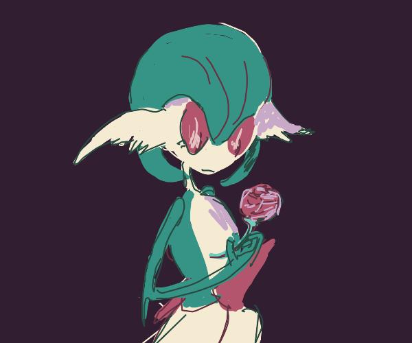 Gardevoir (Pokemon) with a Single Rose