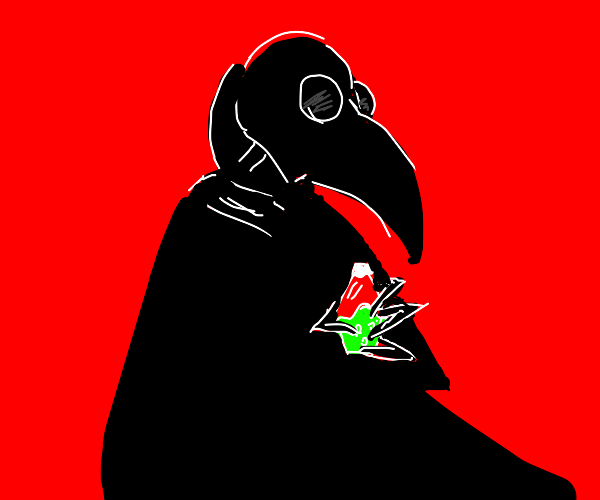 Plague doctor holding suspicious medicine