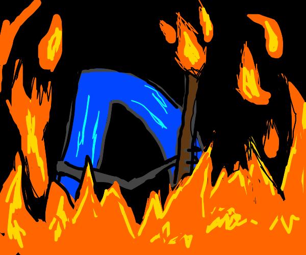 Drawception D burning you alive