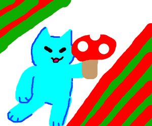Blue cat hapy because he has big red mushrom