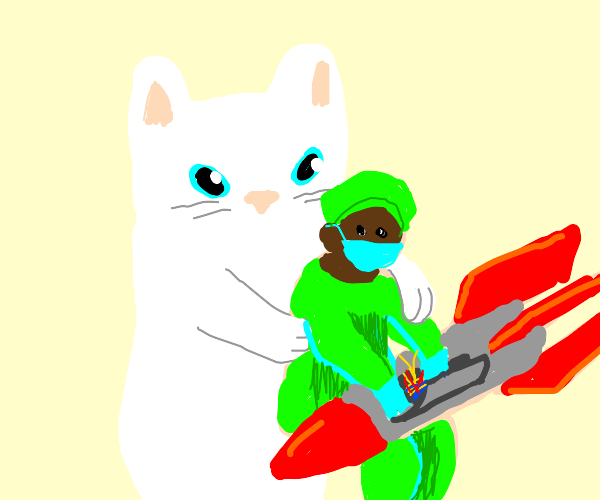 Kitty holding Rocket Surgeon