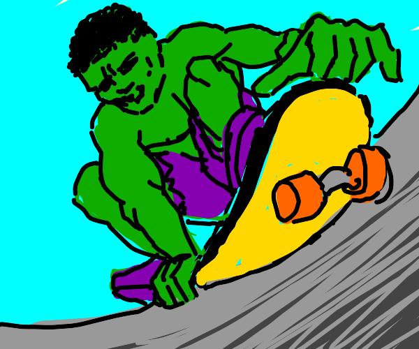 The Hulk riding a skateboard