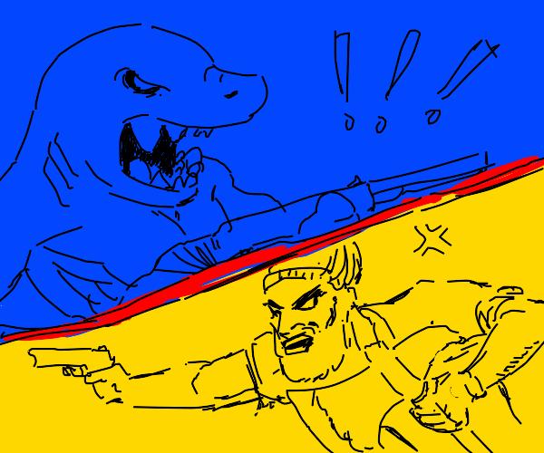 Man with axe & handgun vs shark with shotgun