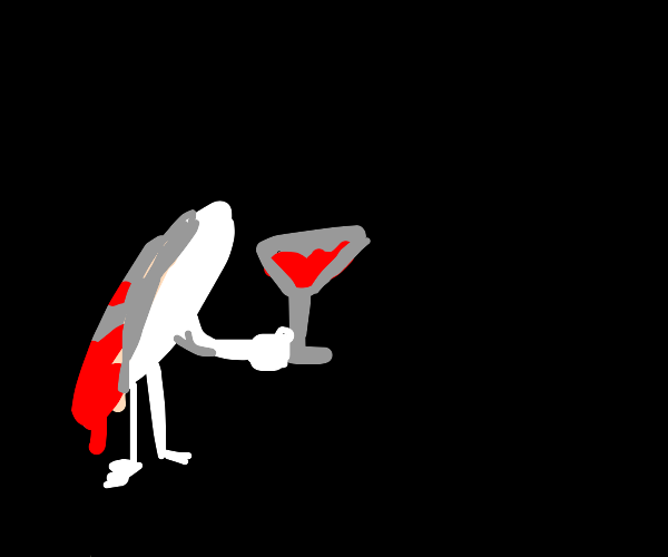 Bloody grain of rice drinks wine