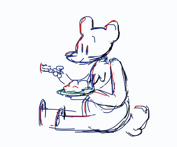polar bear eating mash potatoes